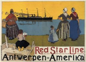 Antwerpen to New York City poster - Red Star Line